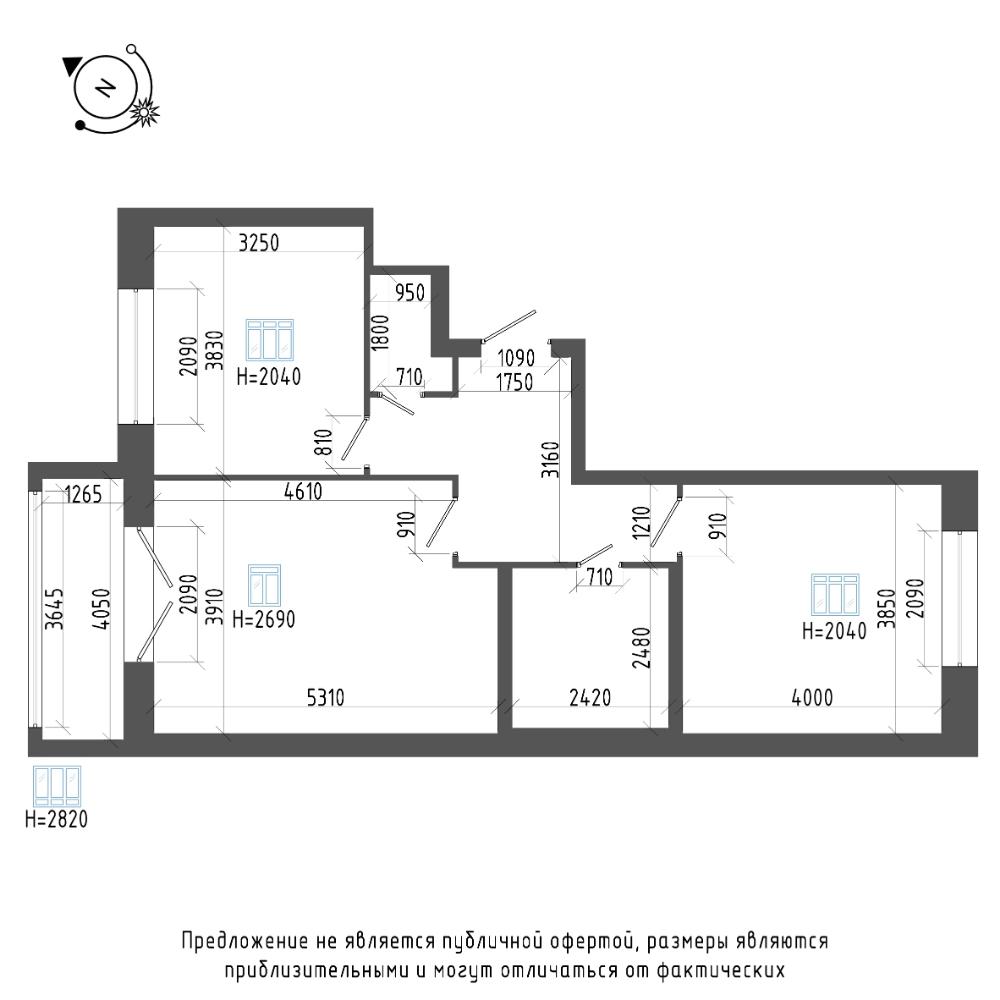 планировка двухкомнатной квартиры в ЖК «Эталон на Неве» №822