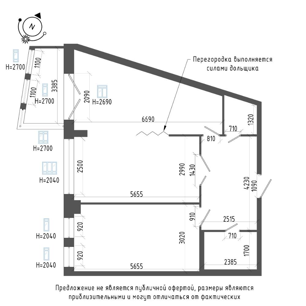 планировка двухкомнатной квартиры в ЖК «Эталон на Неве» №660