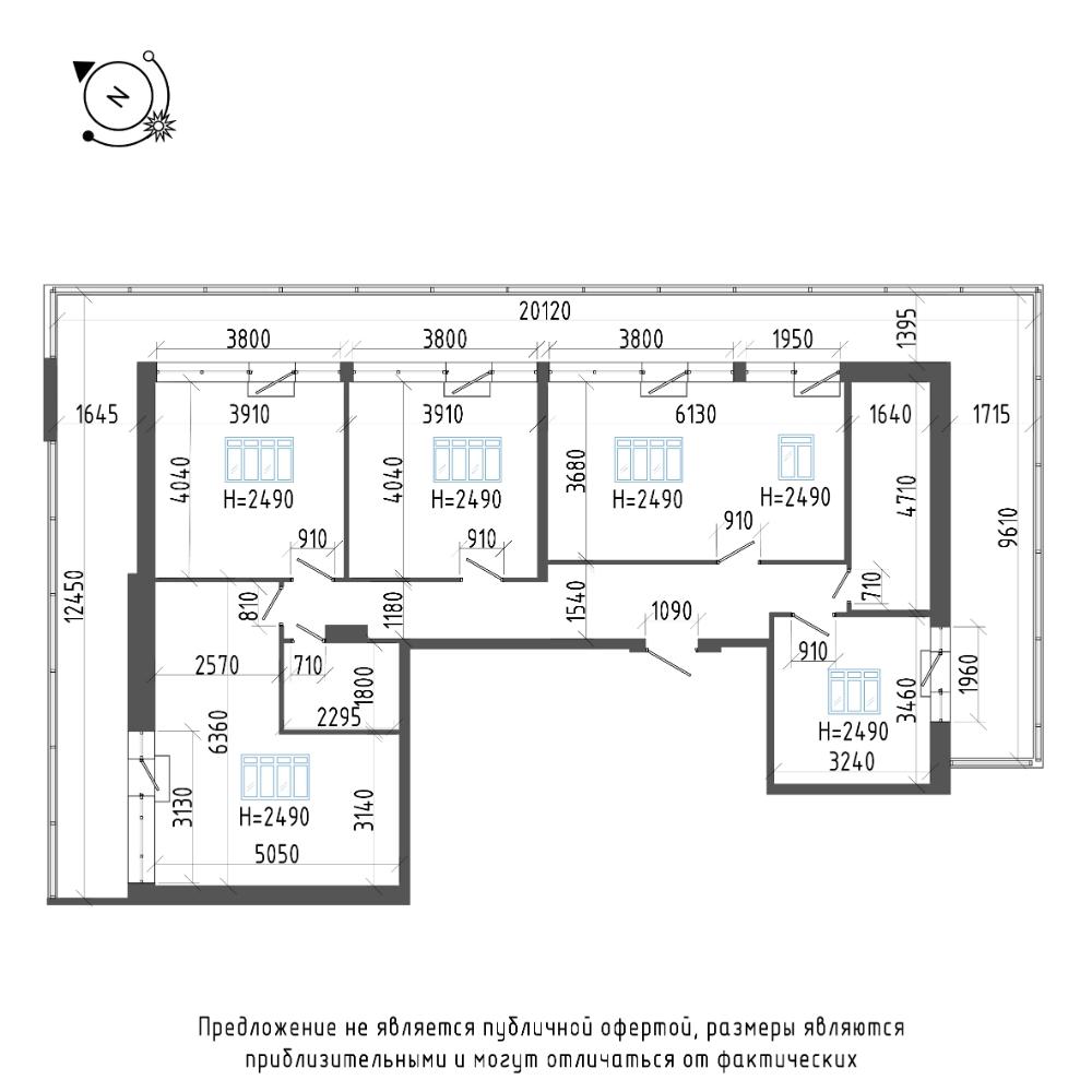 планировка четырехкомнатной квартиры в ЖК «Эталон на Неве» №603