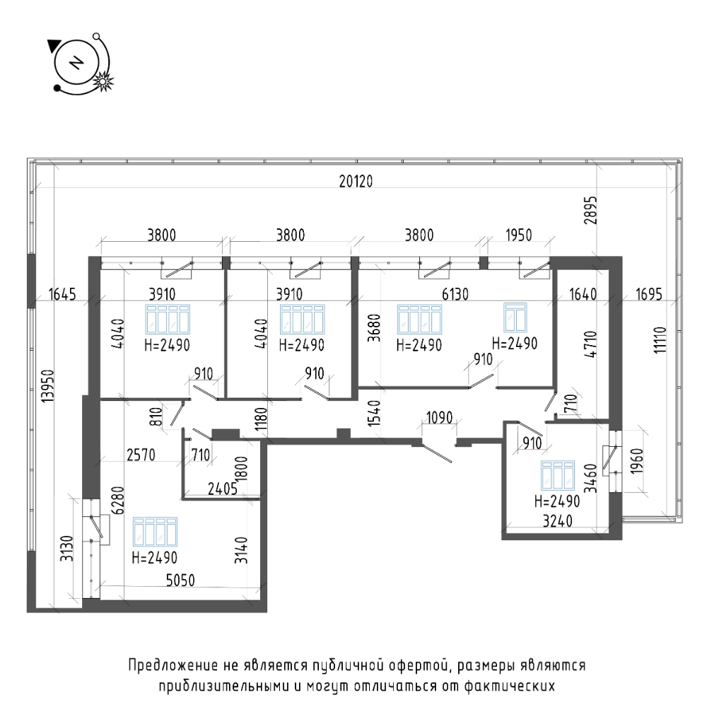 планировка четырехкомнатной квартиры в ЖК «Эталон на Неве» №600