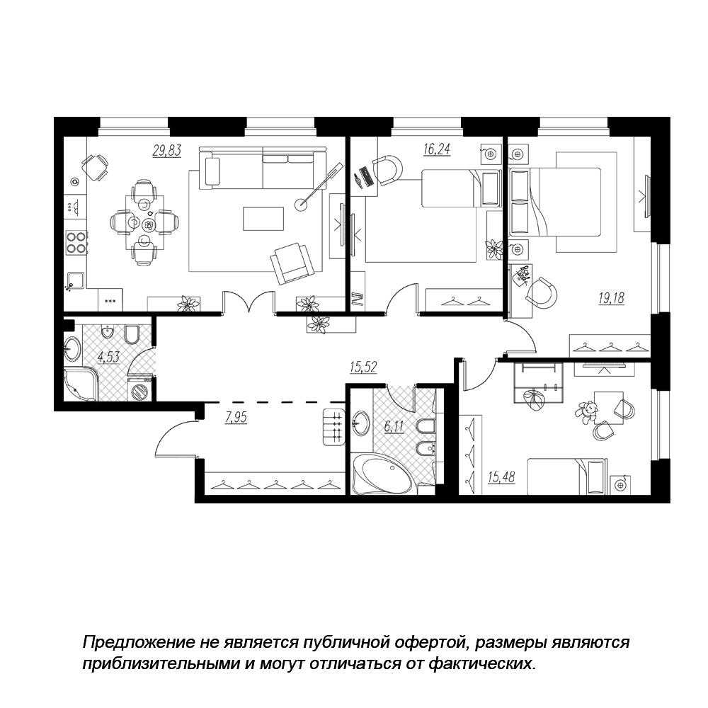 планировка трехкомнатной квартиры в  №1