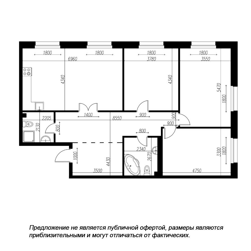планировка трехкомнатной квартиры в ЖК «Петровская Доминанта» №1