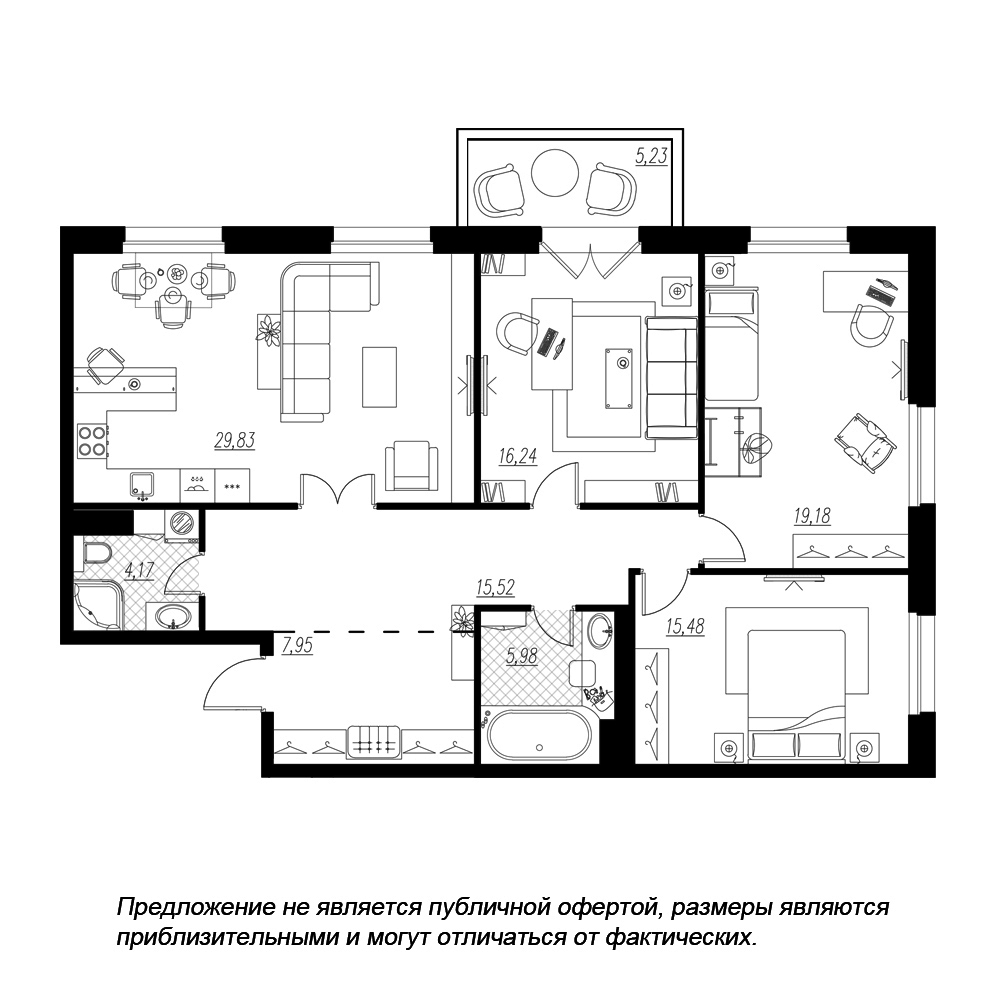 планировка трехкомнатной квартиры в  №5