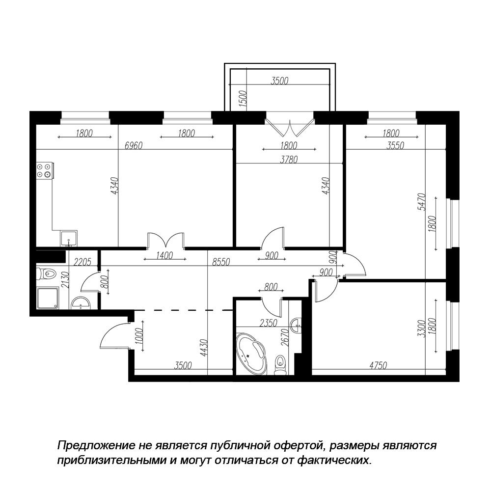планировка трехкомнатной квартиры в ЖК «Петровская Доминанта» №5