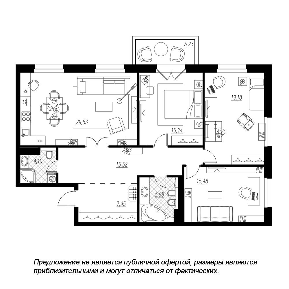 планировка трехкомнатной квартиры в  №9