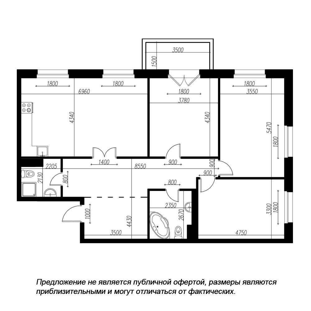 планировка трехкомнатной квартиры в ЖК «Петровская Доминанта» №13