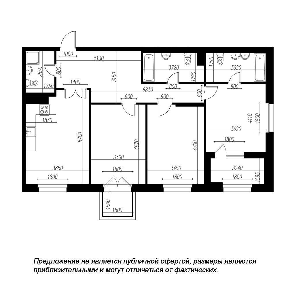 планировка трехкомнатной квартиры в ЖК «Петровская Доминанта» №18