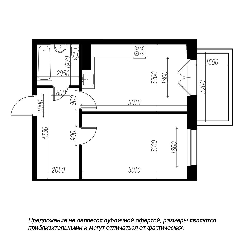 планировка однокомнатной квартиры в ЖК «Петровская Доминанта» №64