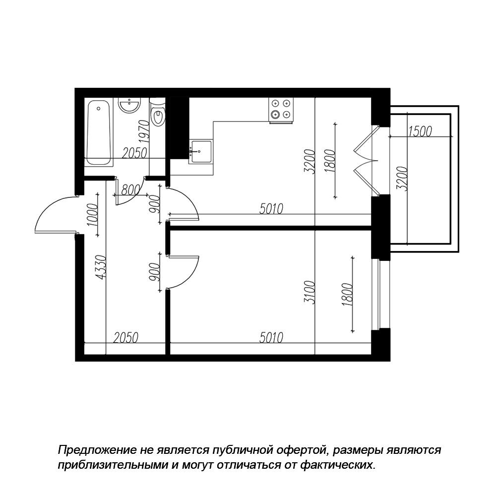 планировка однокомнатной квартиры в ЖК «Петровская Доминанта» №79