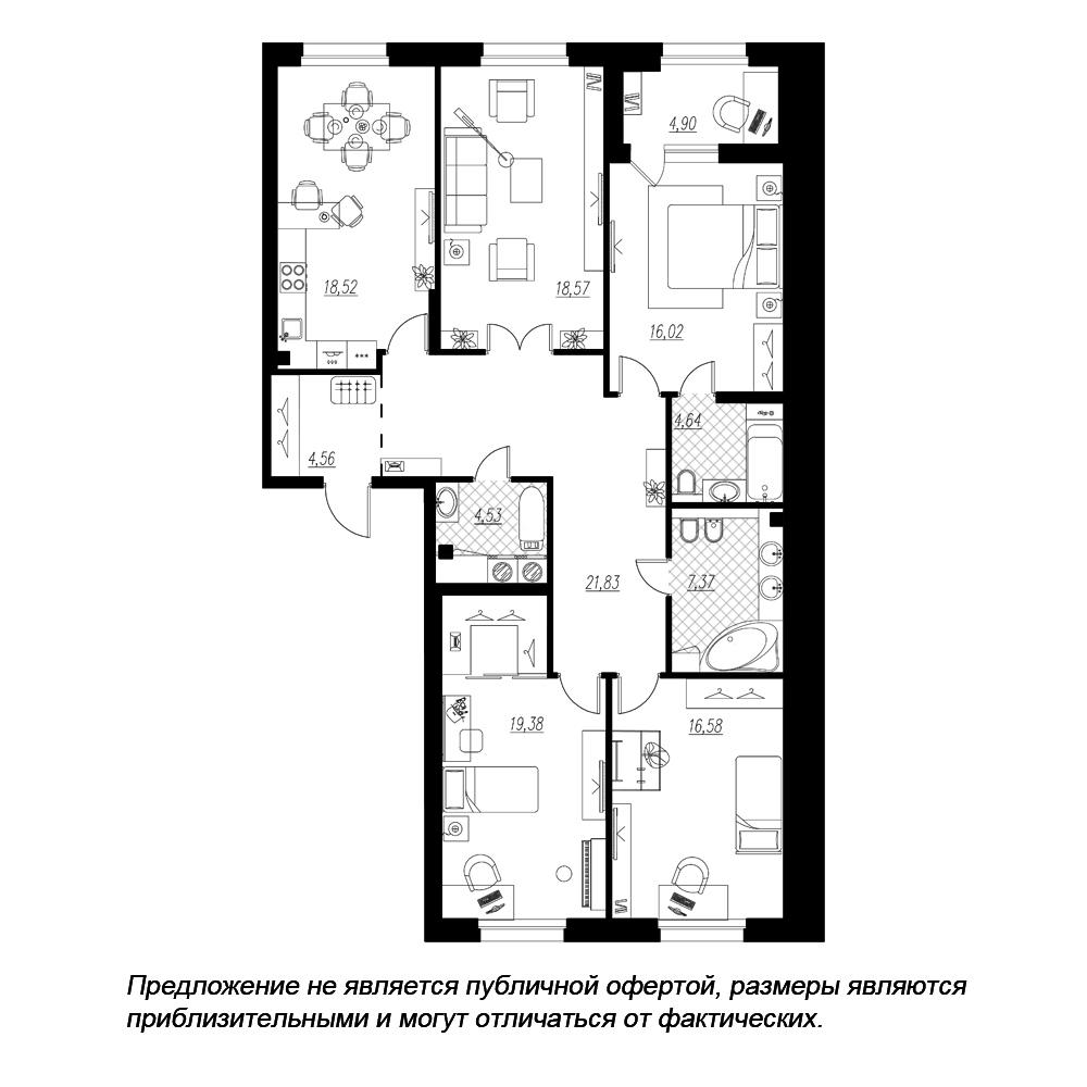 планировка четырехкомнатной квартиры в ЖК «Петровская Доминанта» №53