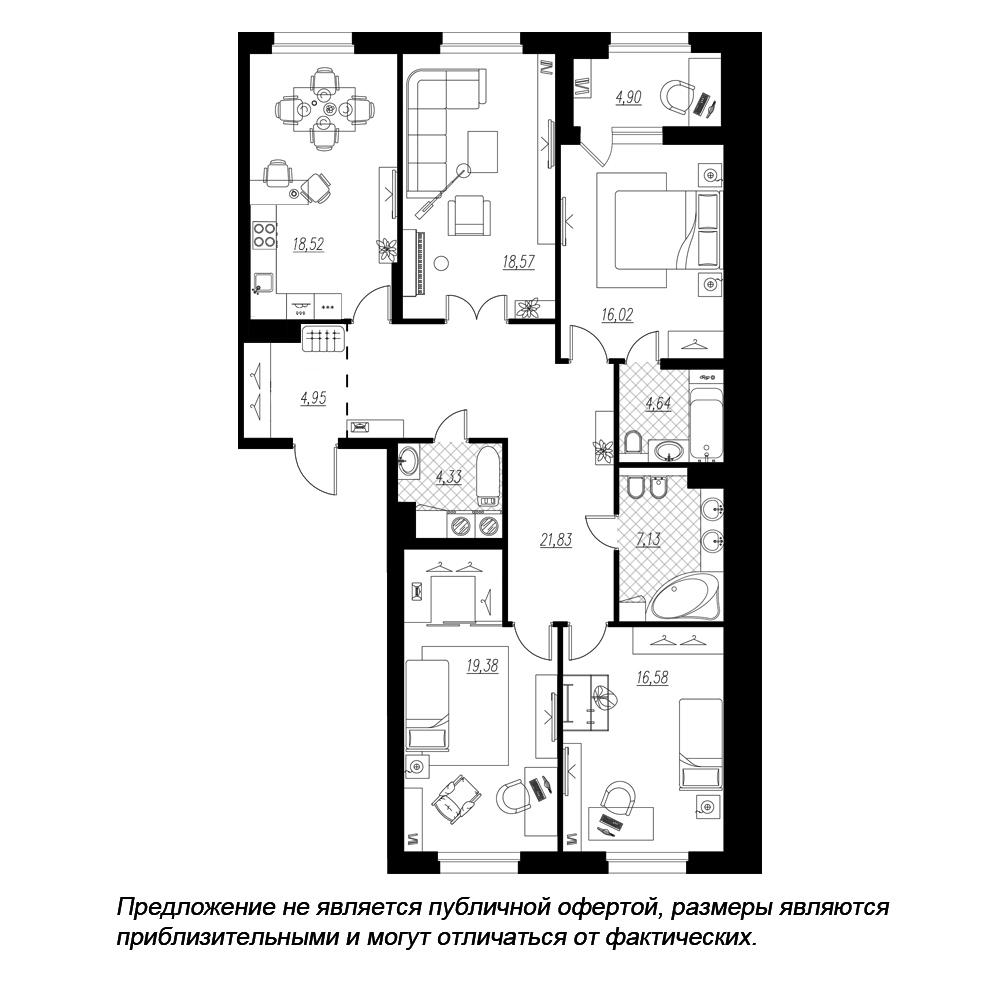планировка четырехкомнатной квартиры в  №58