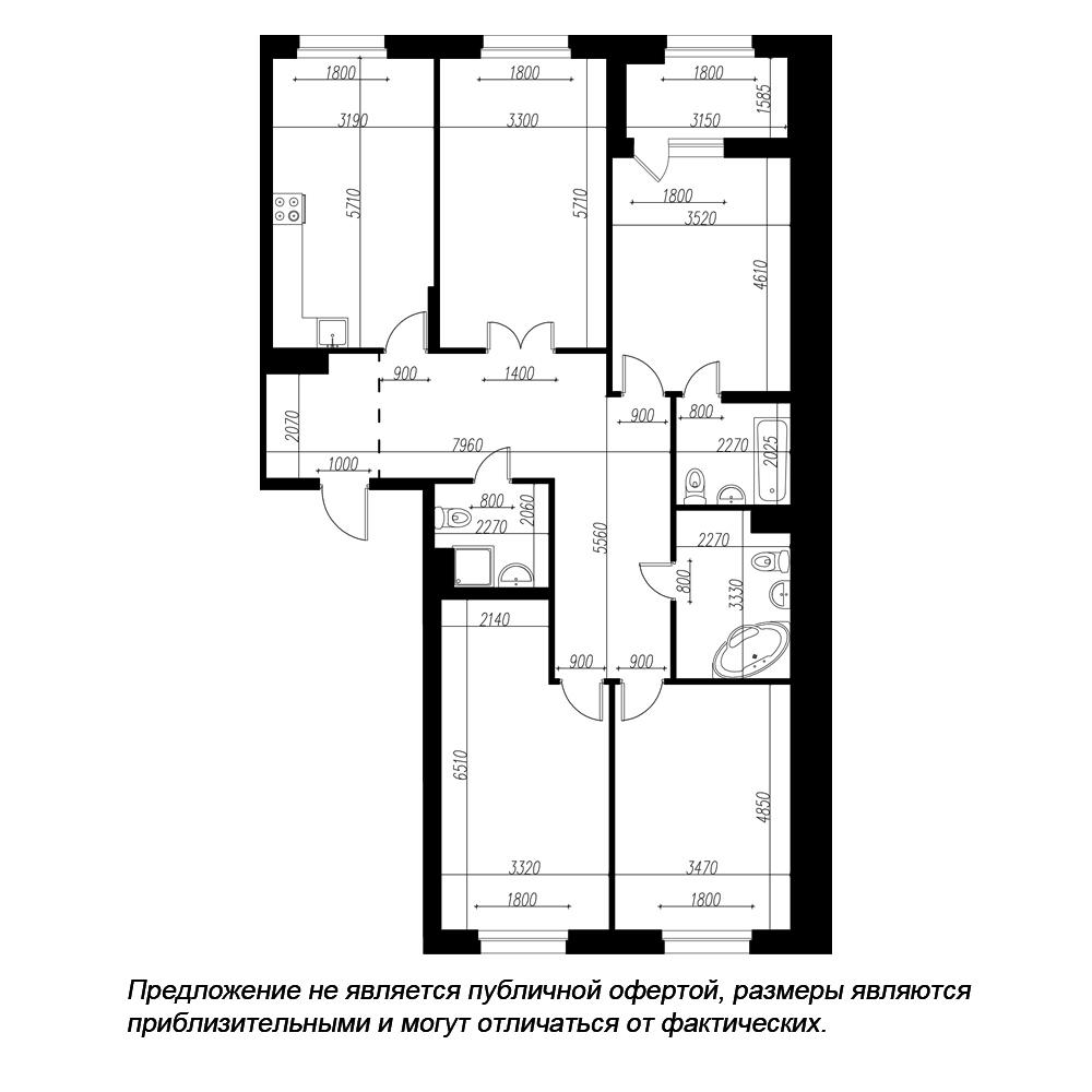 планировка четырехкомнатной квартиры в ЖК «Петровская Доминанта» №58