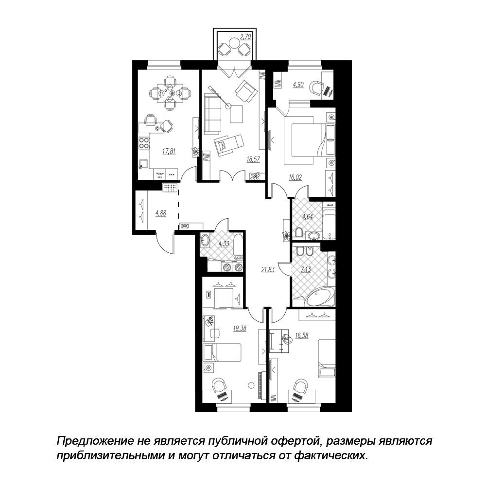 планировка четырехкомнатной квартиры в  №63