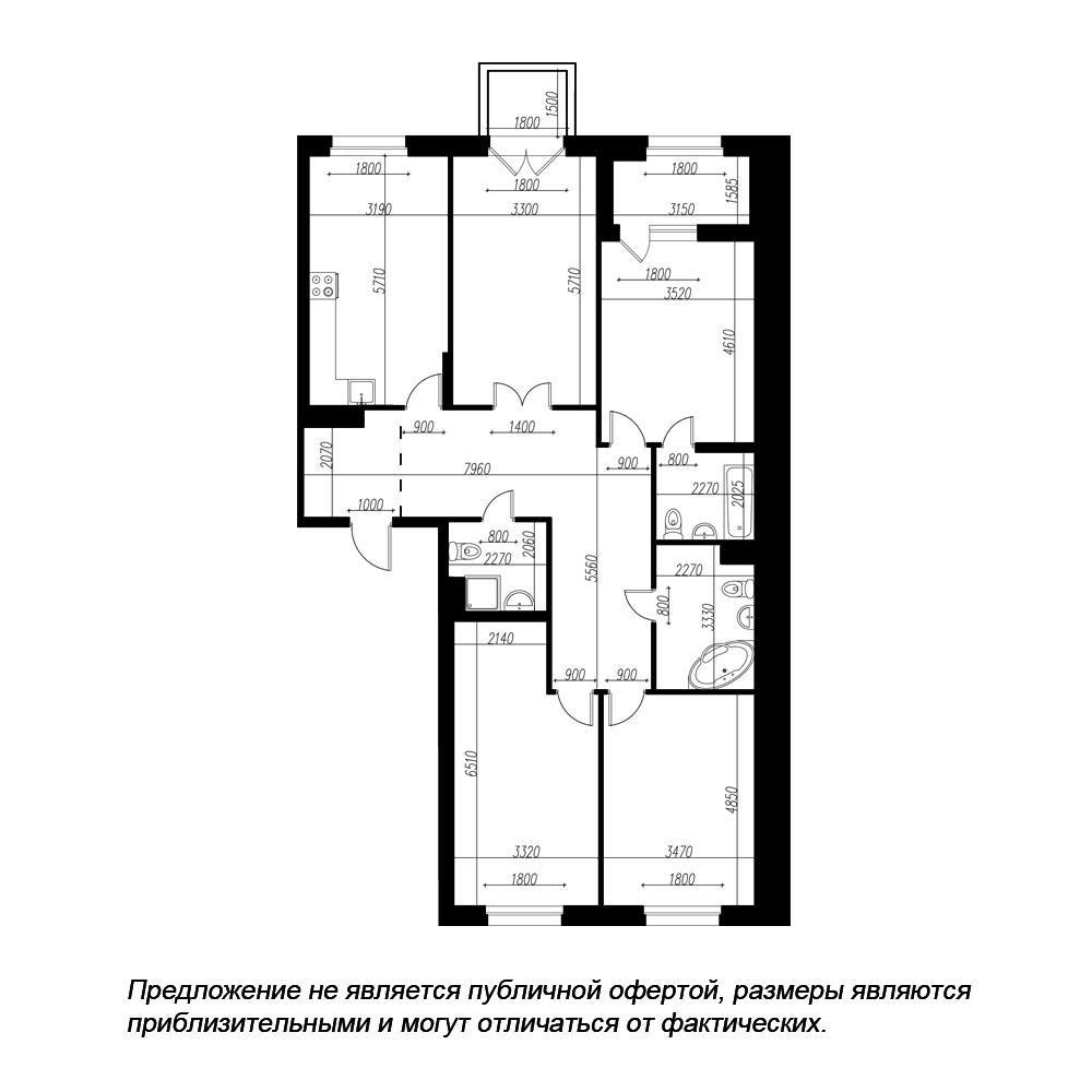 планировка четырехкомнатной квартиры в ЖК «Петровская Доминанта» №63