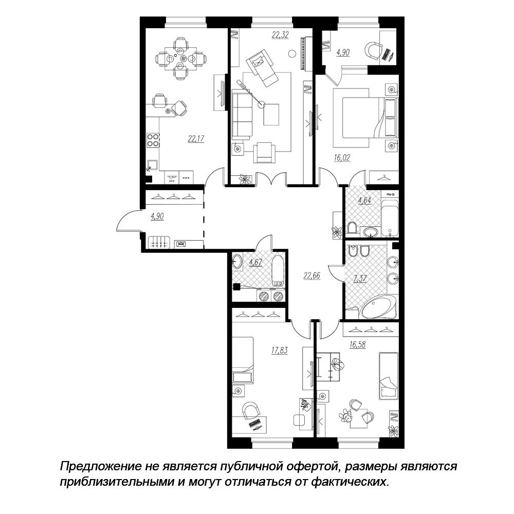 планировка четырехкомнатной квартиры в  №89