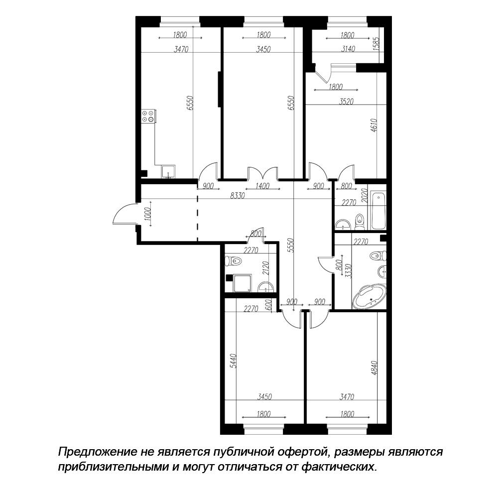 планировка четырехкомнатной квартиры в ЖК «Петровская Доминанта» №89