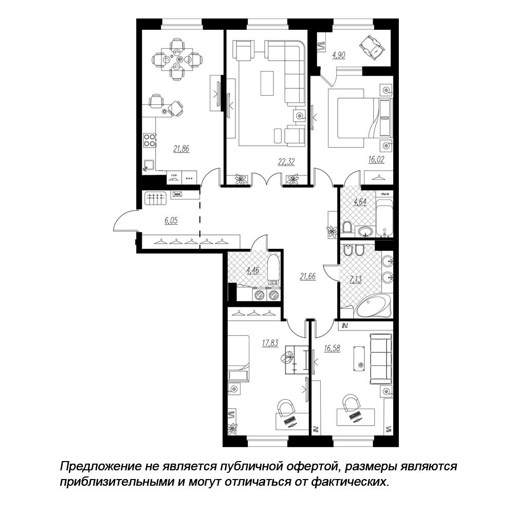 планировка четырехкомнатной квартиры в  №91