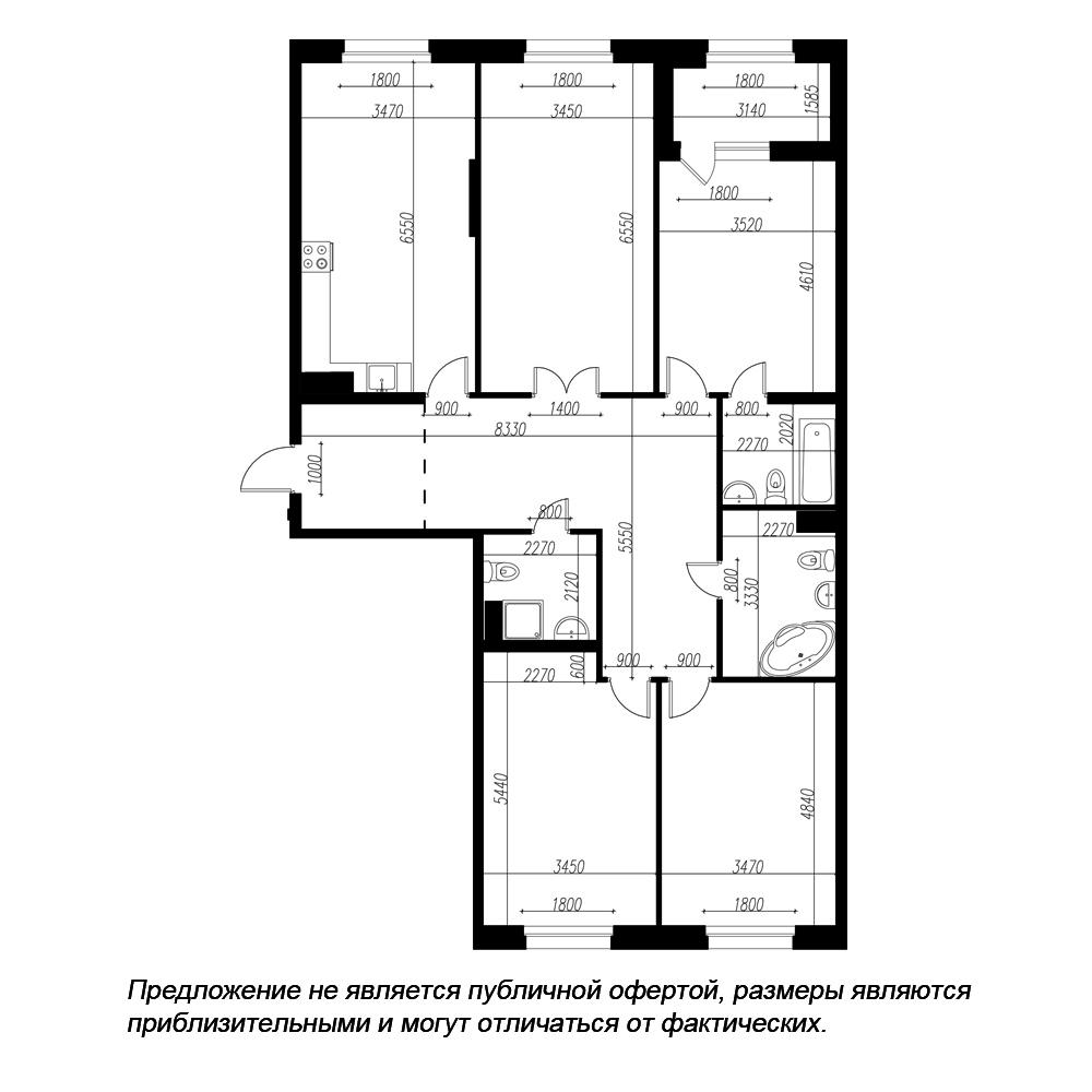 планировка четырехкомнатной квартиры в ЖК «Петровская Доминанта» №91