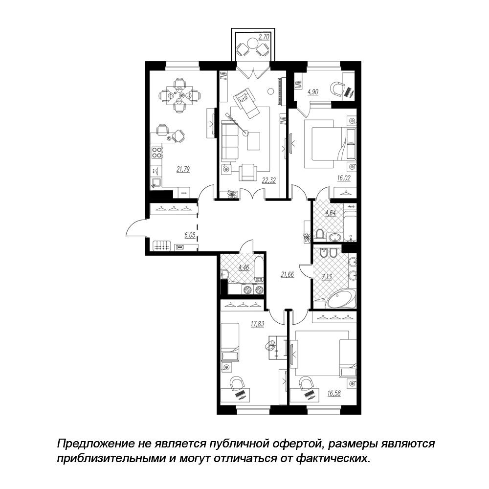планировка четырехкомнатной квартиры в  №94