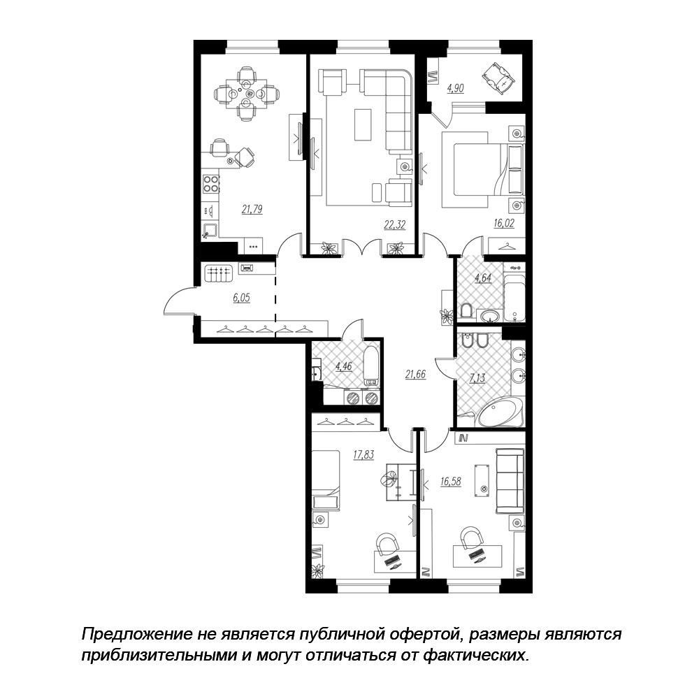 планировка четырехкомнатной квартиры в  №97