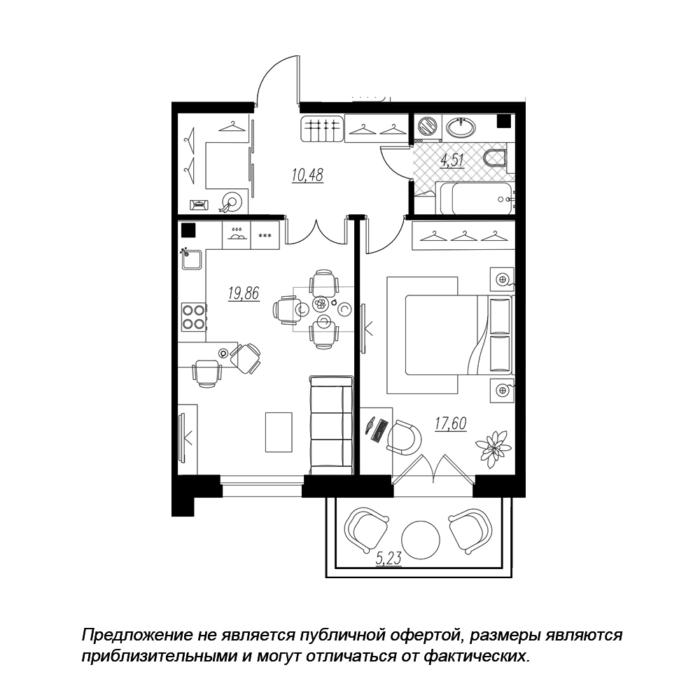 планировка однокомнатной квартиры в  №119