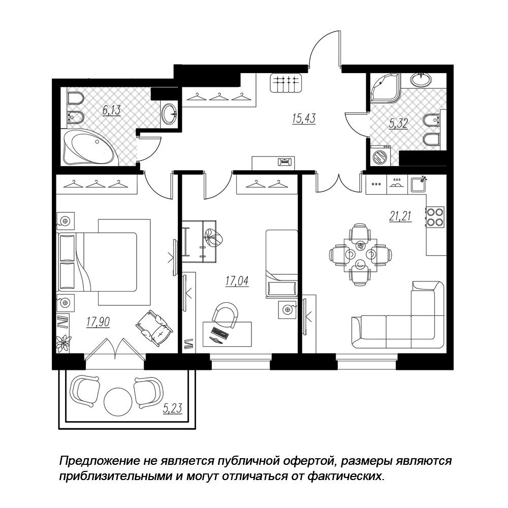 планировка двухкомнатной квартиры в  №128