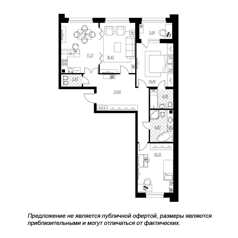планировка трехкомнатной квартиры в ЖК «Петровская Доминанта» №118