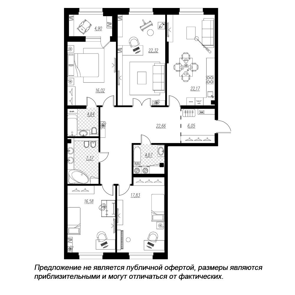 планировка четырехкомнатной квартиры в  №113