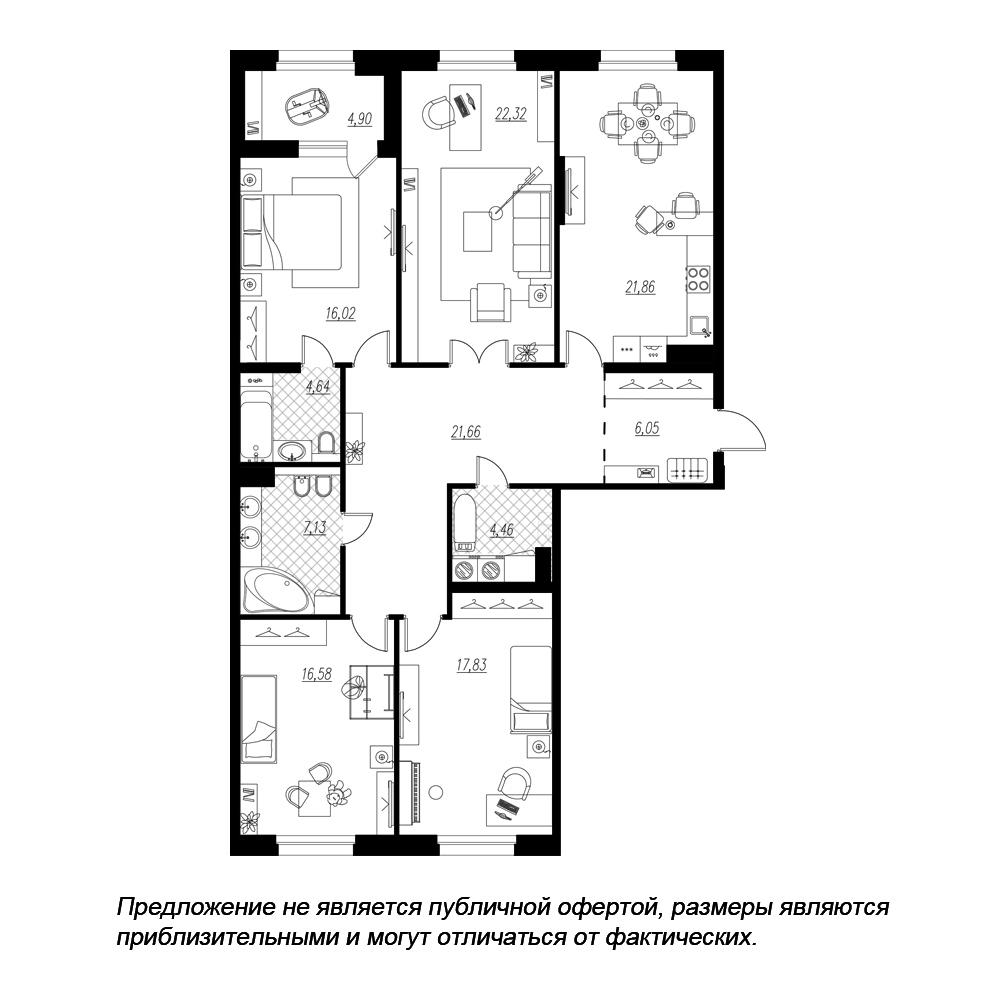 планировка четырехкомнатной квартиры в  №115