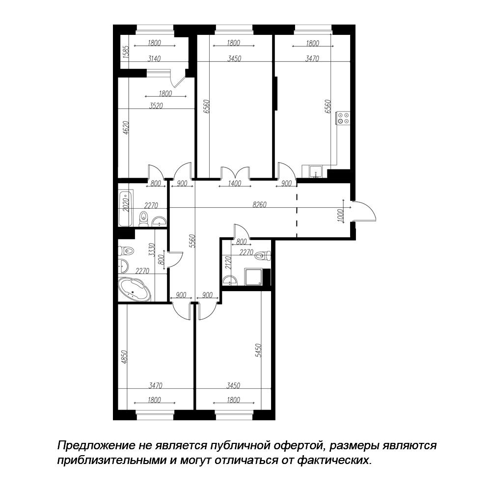 планировка четырехкомнатной квартиры в ЖК «Петровская Доминанта» №115