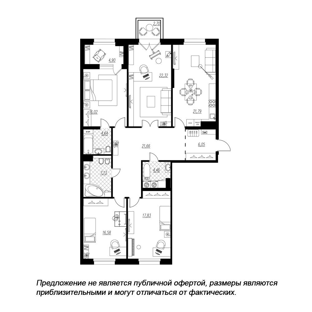 планировка четырехкомнатной квартиры в  №117