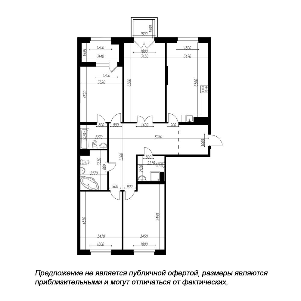 планировка четырехкомнатной квартиры в ЖК «Петровская Доминанта» №117