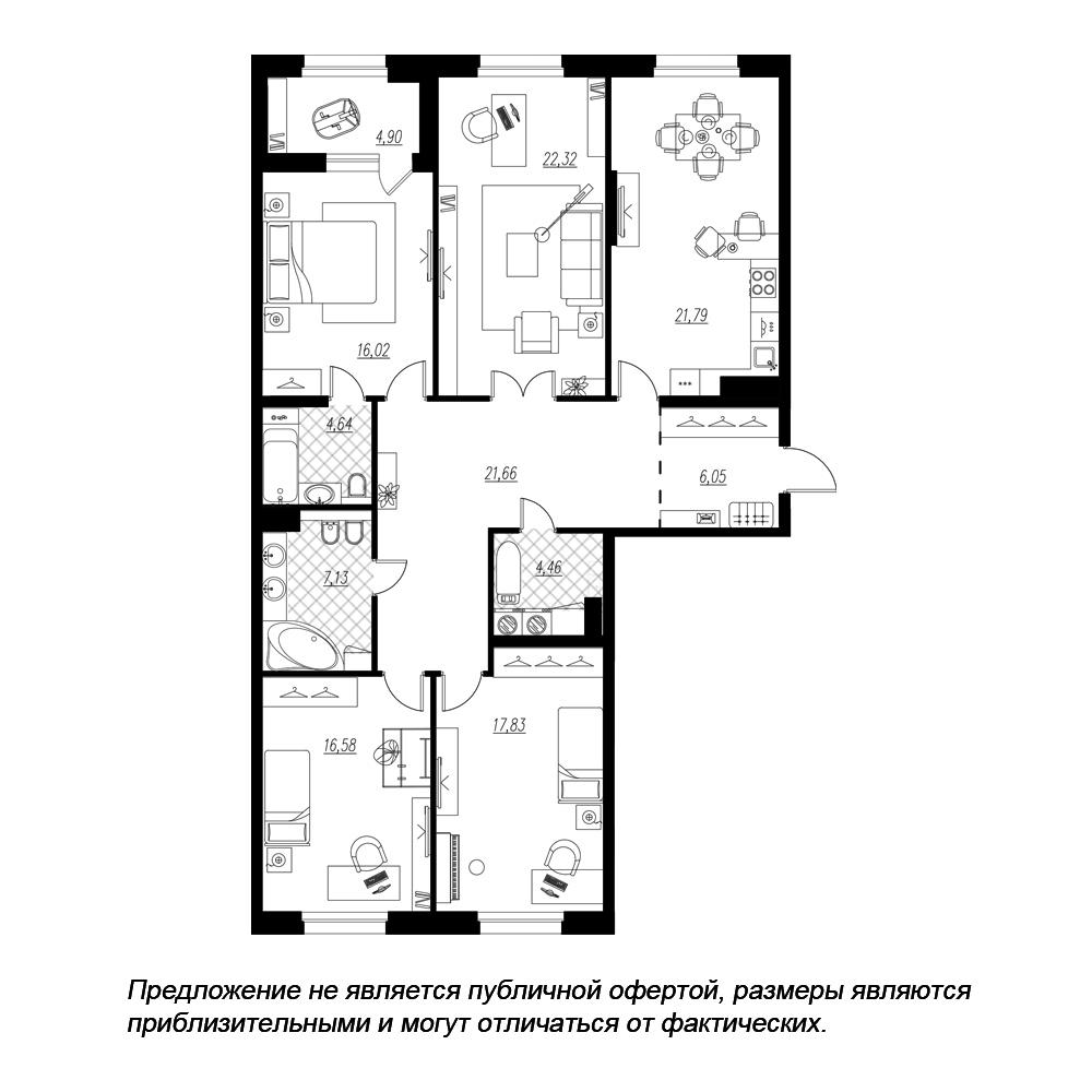 планировка четырехкомнатной квартиры в  №121