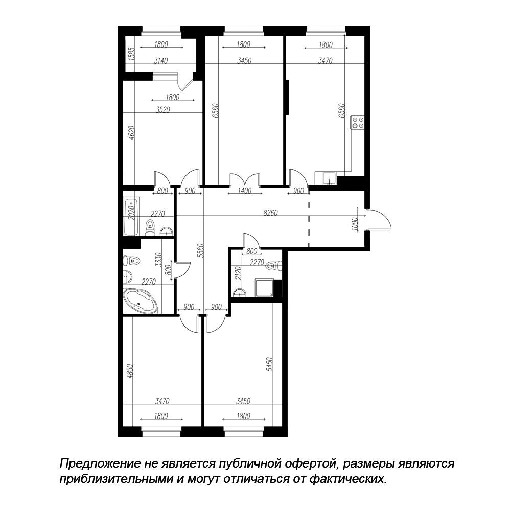 планировка четырехкомнатной квартиры в ЖК «Петровская Доминанта» №121