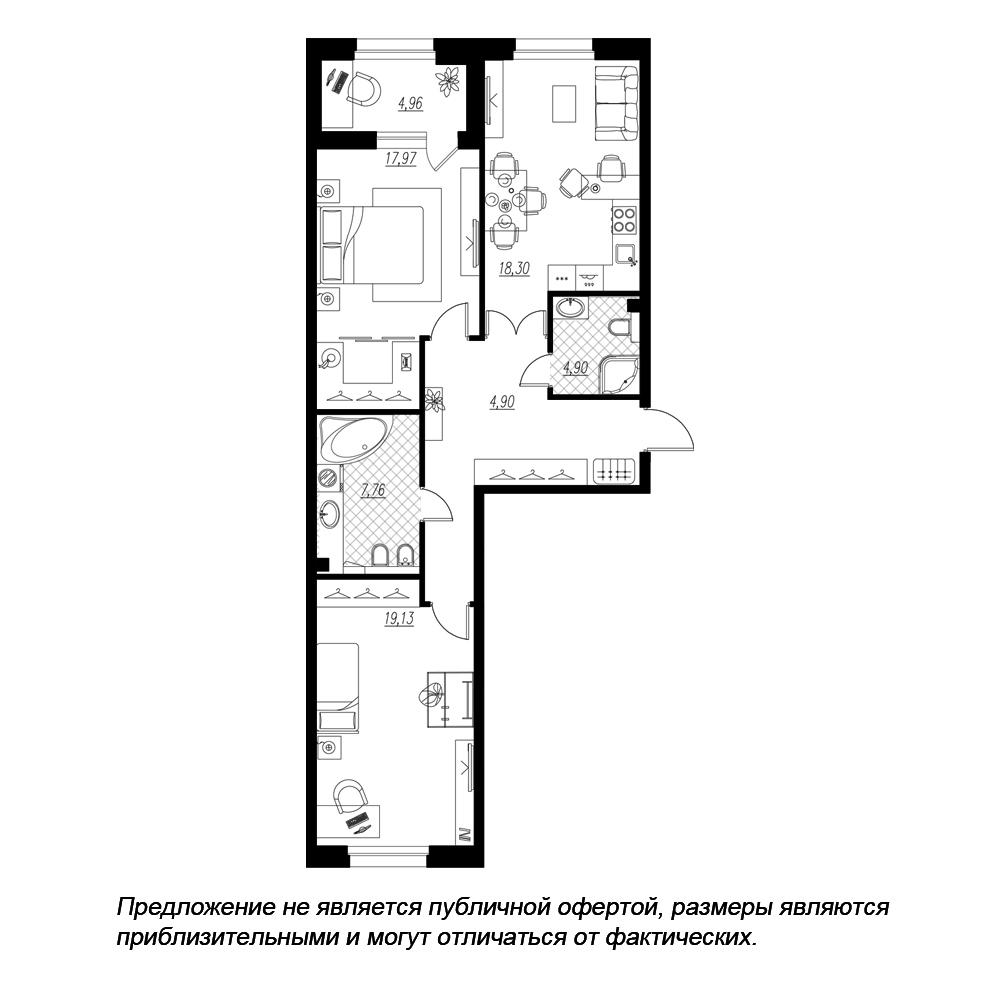 планировка двухкомнатной квартиры в  №137