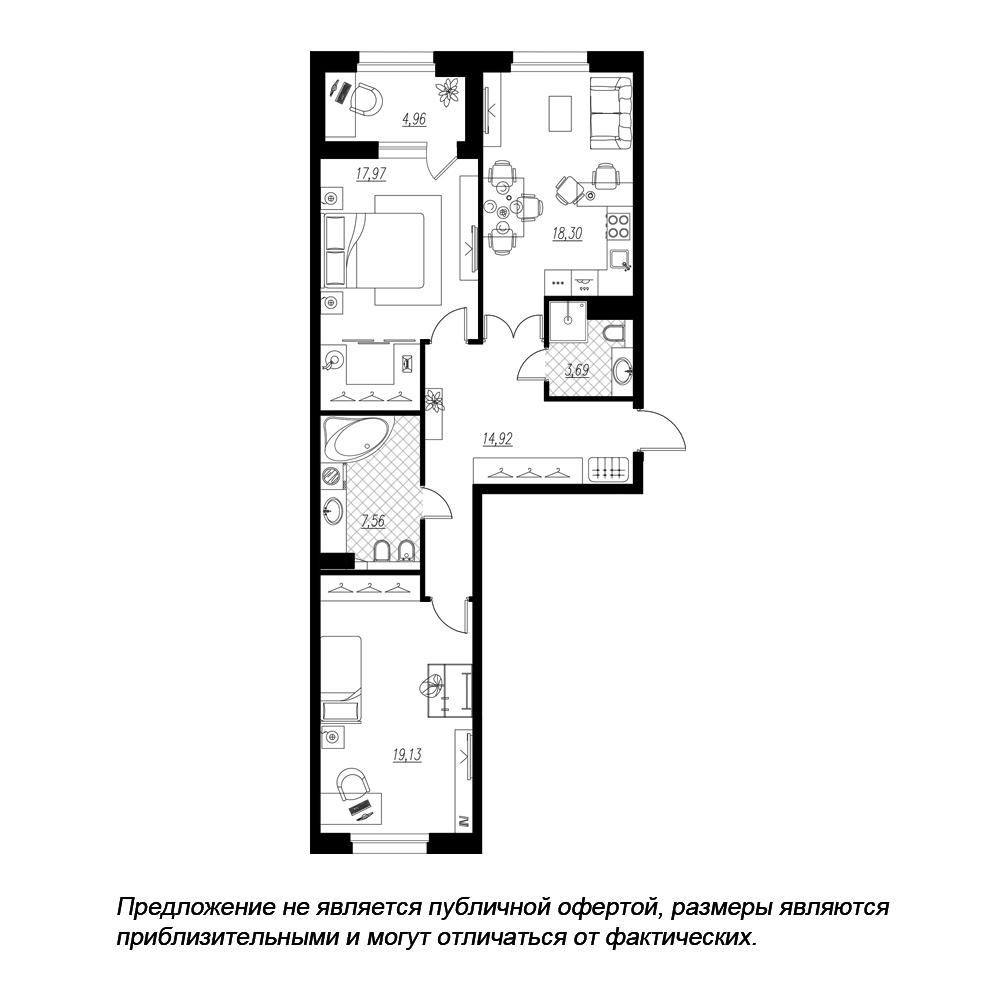 планировка двухкомнатной квартиры в  №139