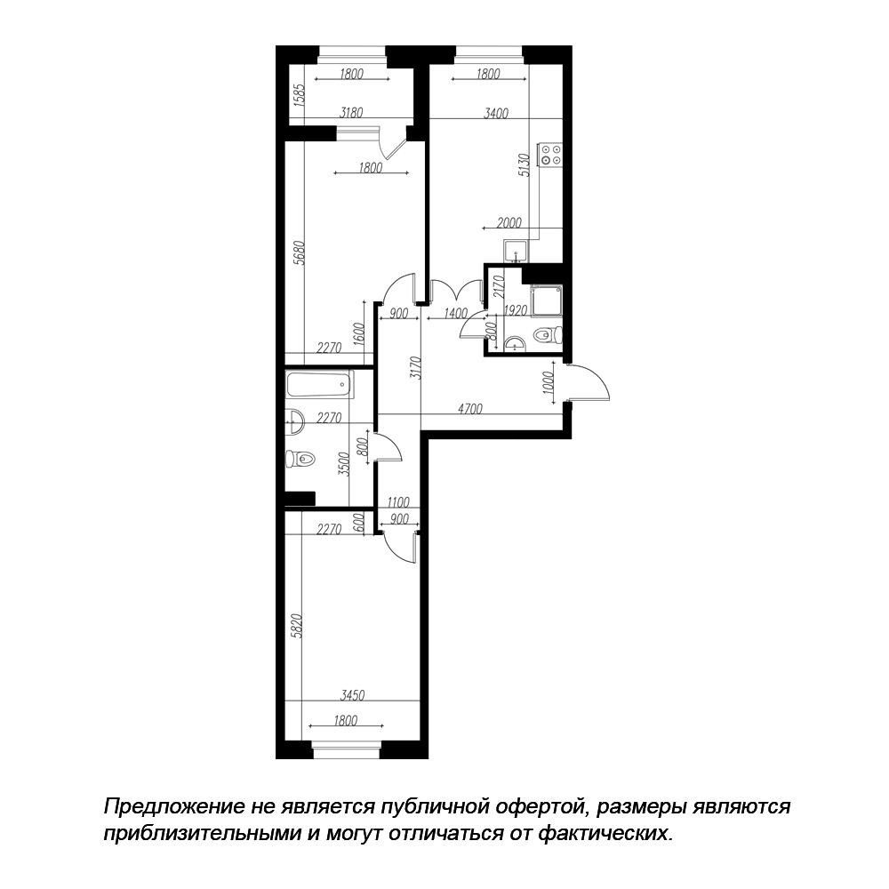 планировка двухкомнатной квартиры в ЖК «Петровская Доминанта» №139