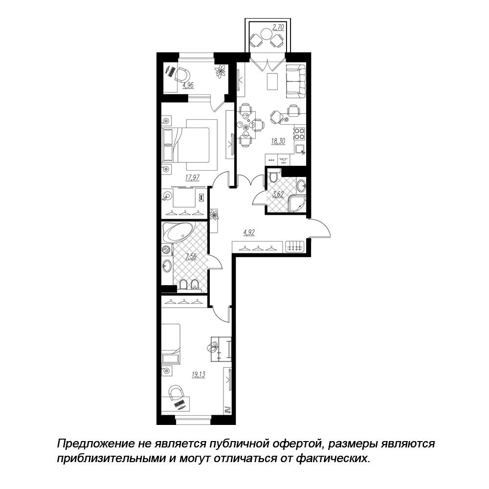 планировка двухкомнатной квартиры в  №142