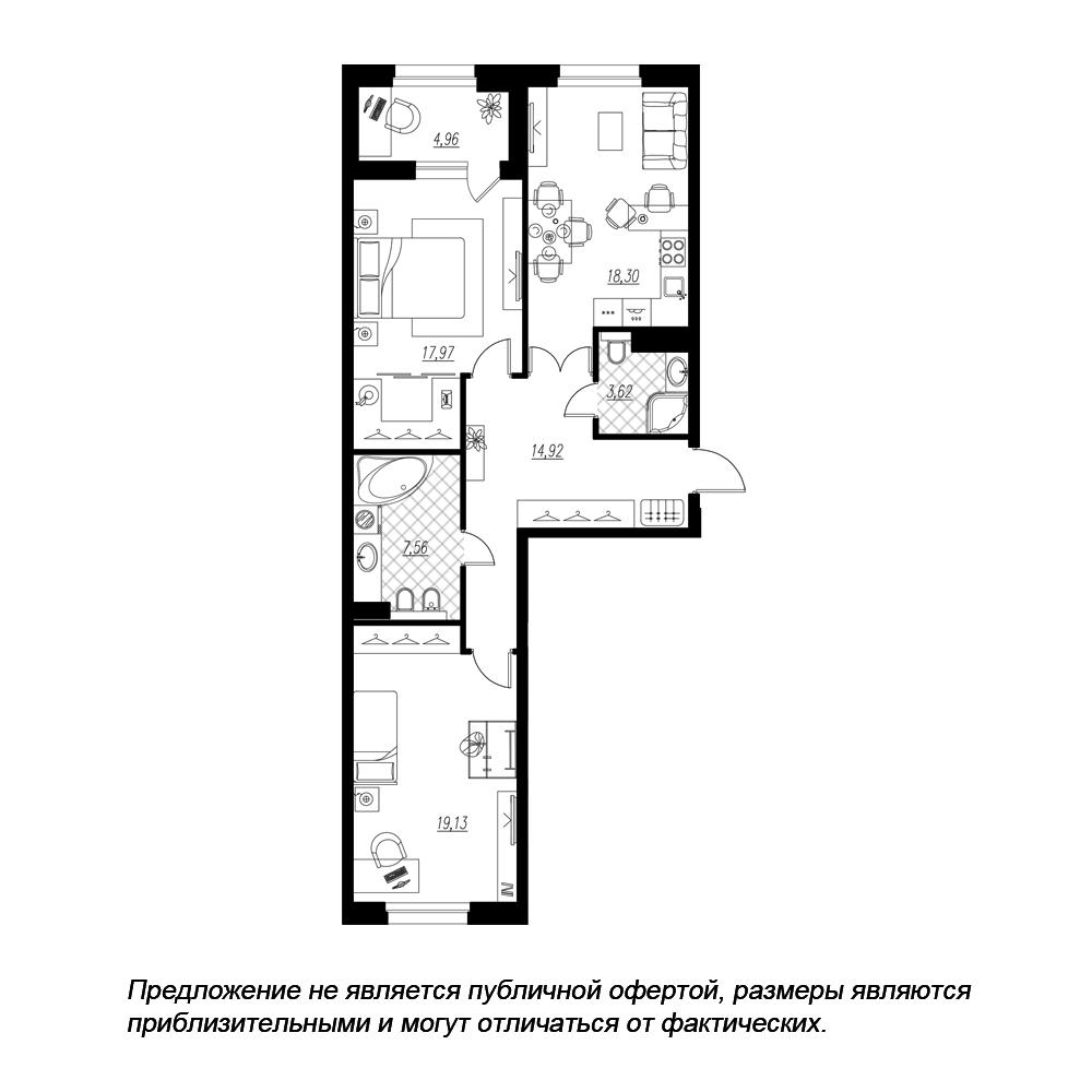 планировка двухкомнатной квартиры в ЖК «Петровская Доминанта» №145