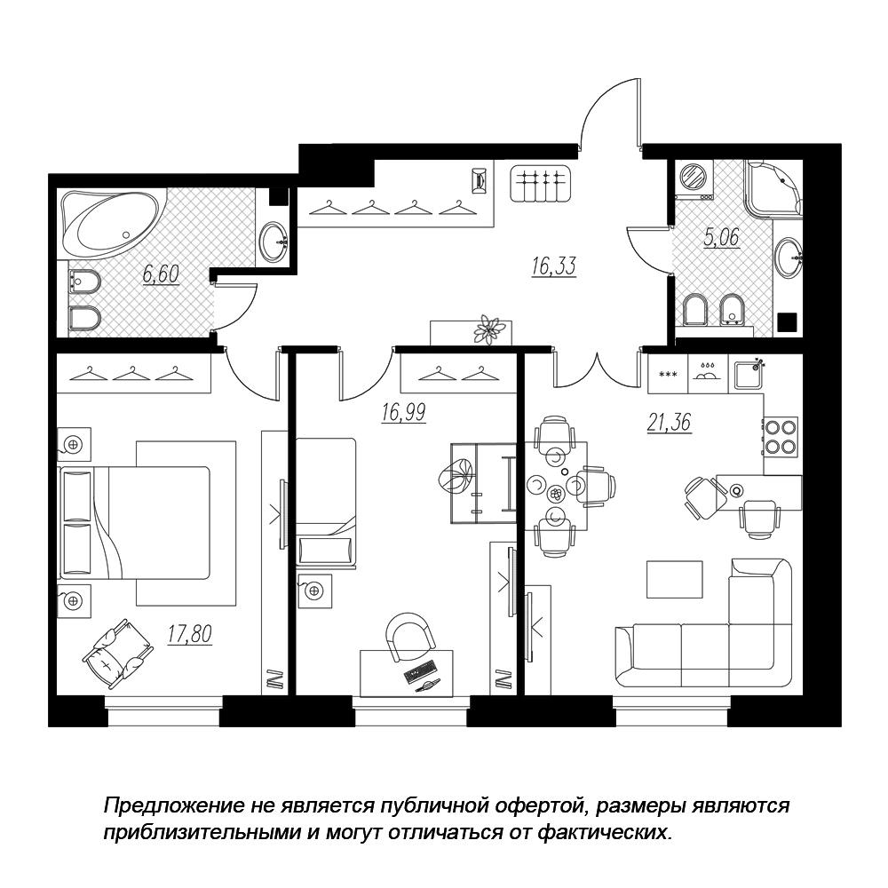 планировка двухкомнатной квартиры в  №138