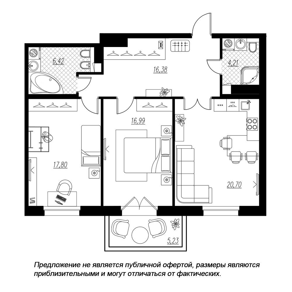 планировка двухкомнатной квартиры в  №152