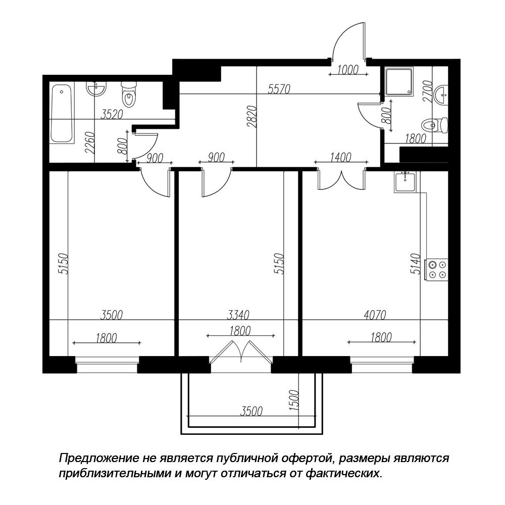 планировка двухкомнатной квартиры в ЖК «Петровская Доминанта» №152