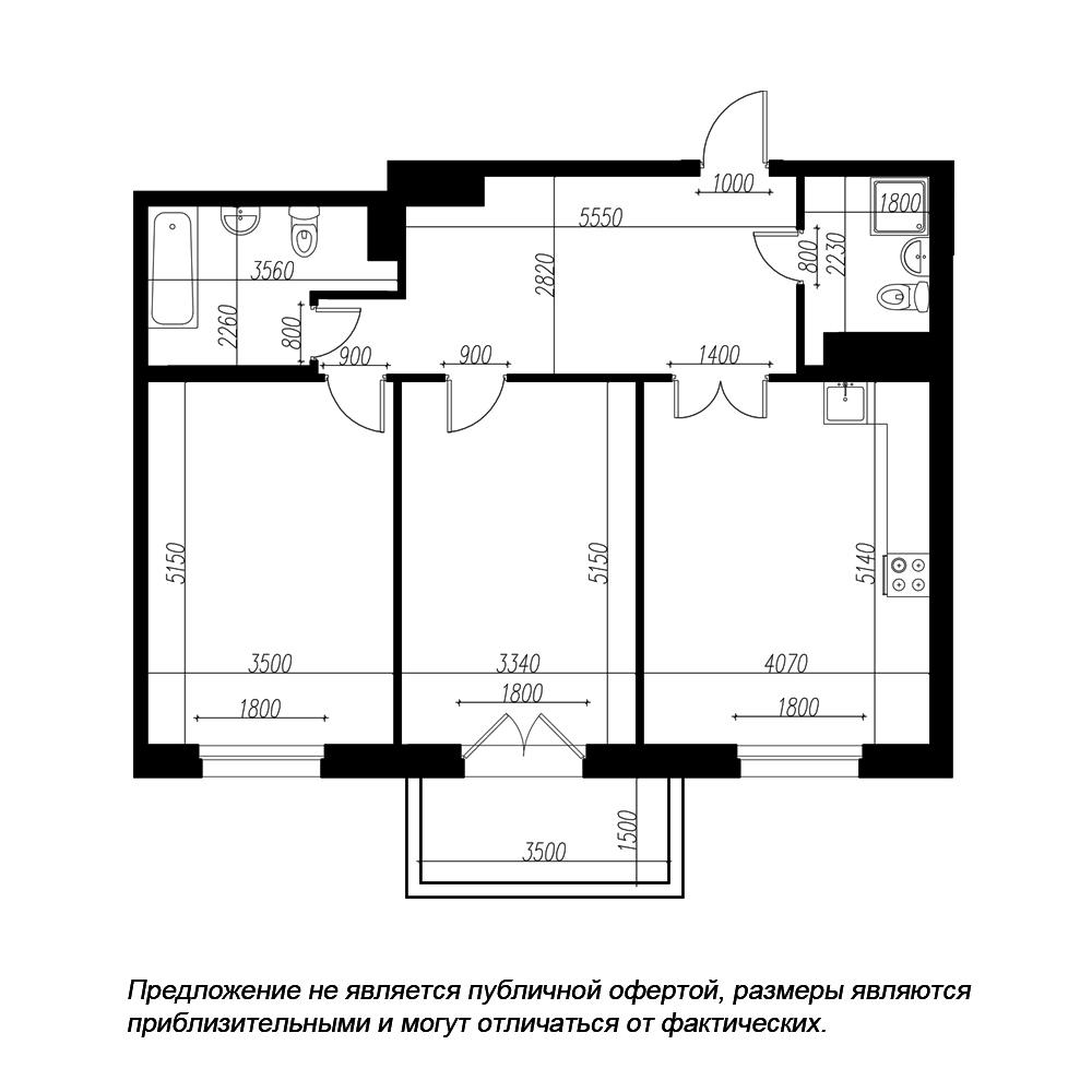 планировка двухкомнатной квартиры в ЖК «Петровская Доминанта» №155