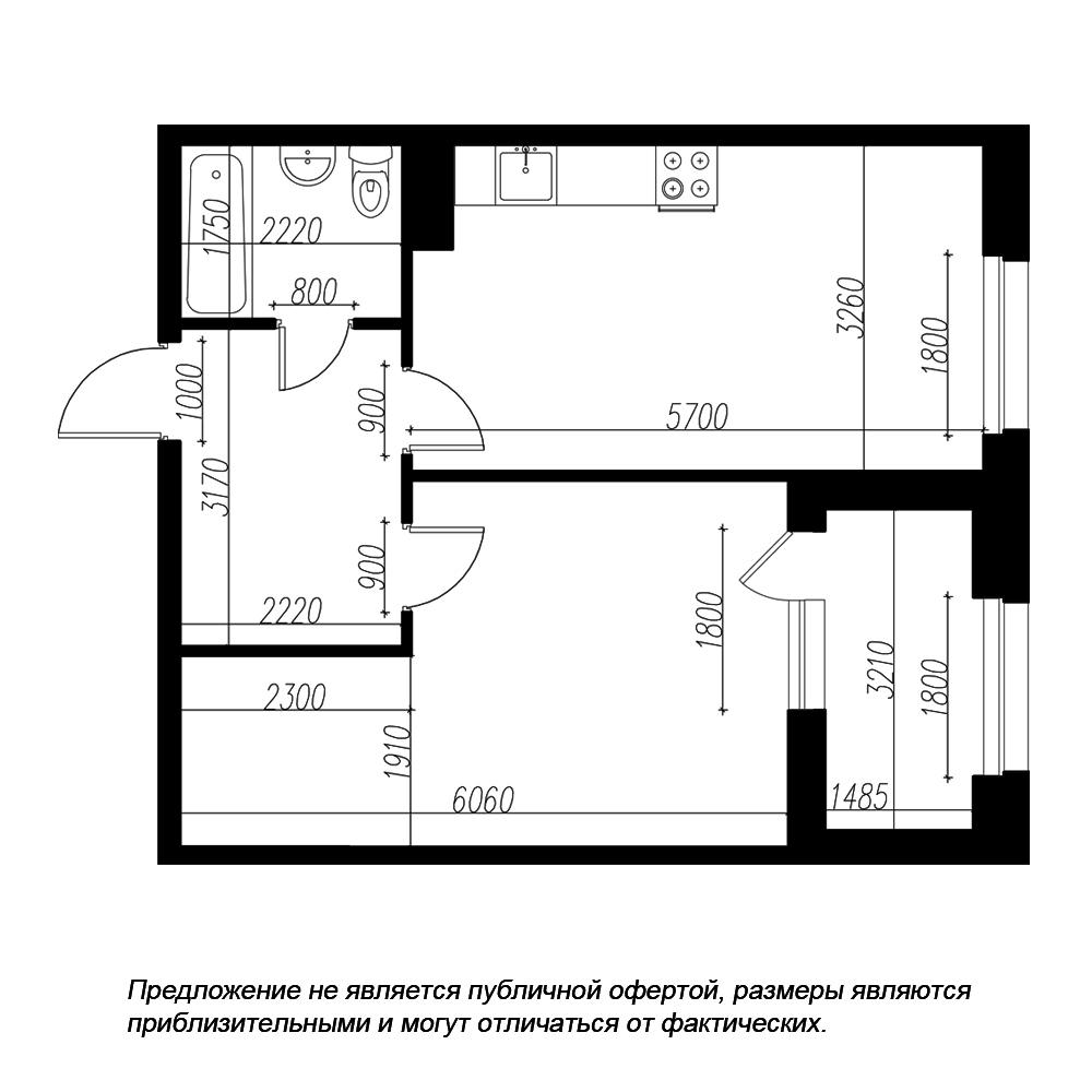 планировка однокомнатной квартиры в ЖК «Петровская Доминанта» №168