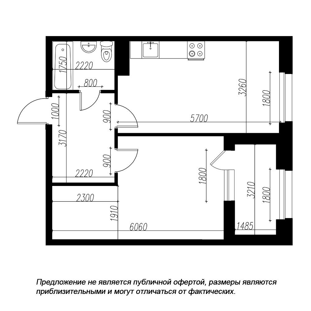 планировка однокомнатной квартиры в ЖК «Петровская Доминанта» №174