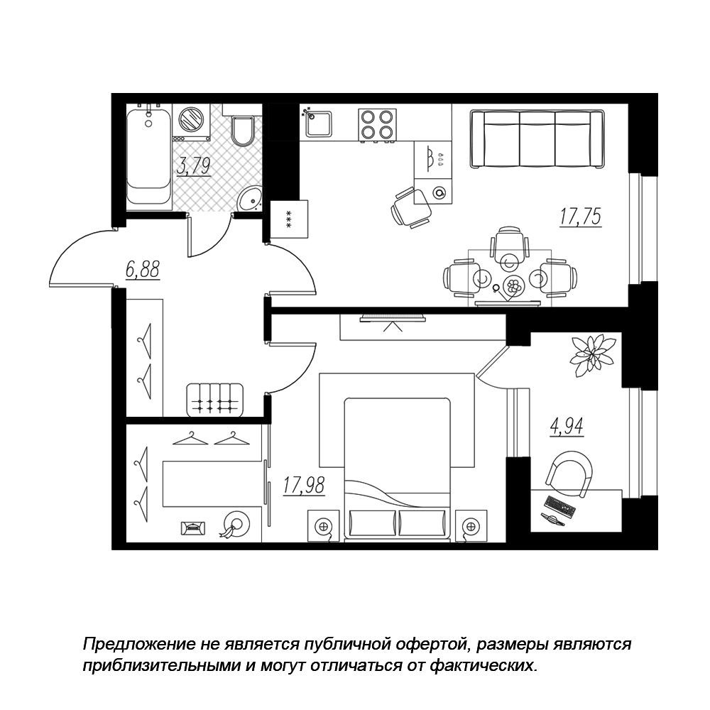 планировка однокомнатной квартиры в  №198