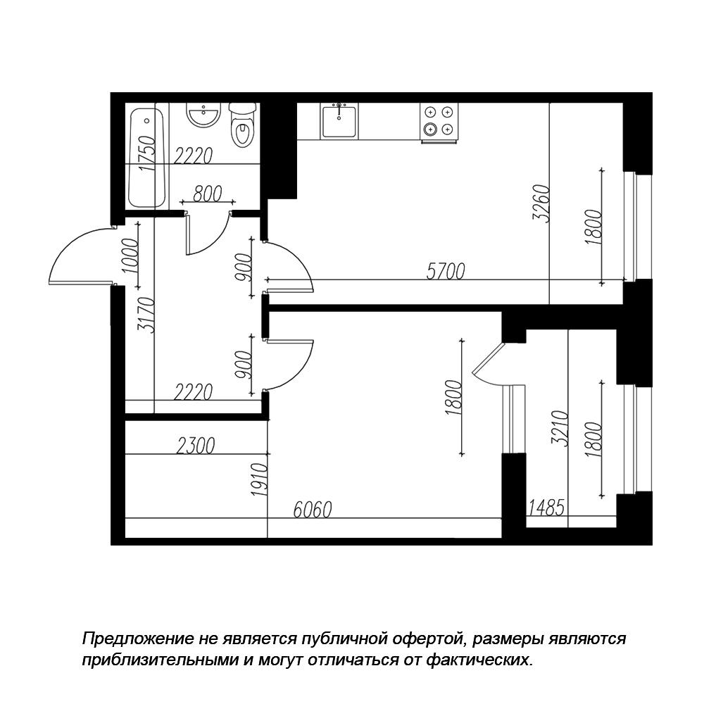 планировка однокомнатной квартиры в ЖК «Петровская Доминанта» №198