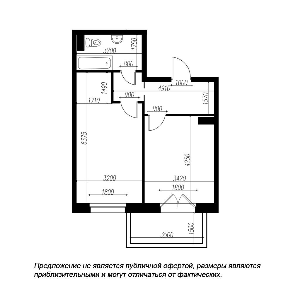 планировка однокомнатной квартиры в ЖК «Петровская Доминанта» №170