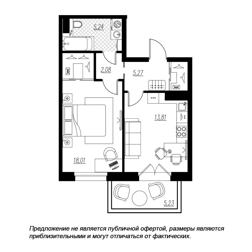 планировка однокомнатной квартиры в  №182