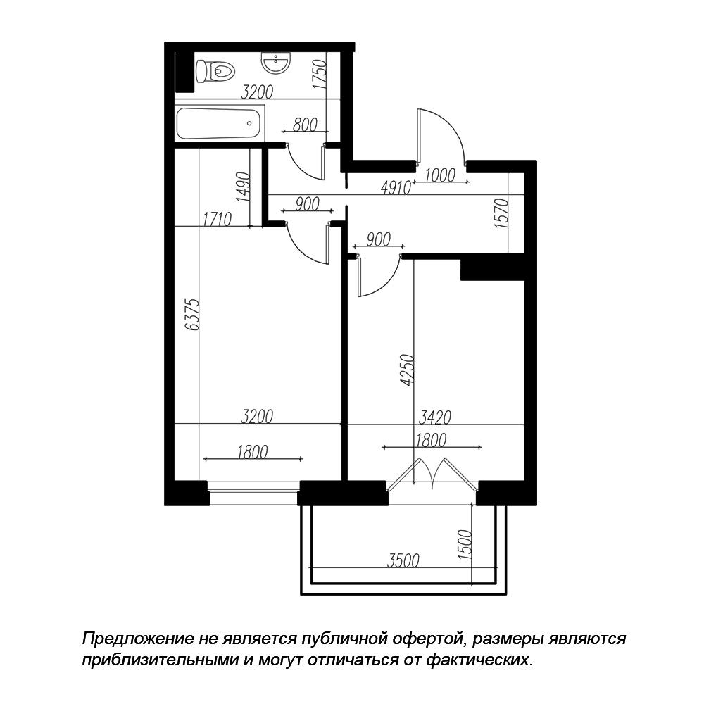 планировка однокомнатной квартиры в ЖК «Петровская Доминанта» №182